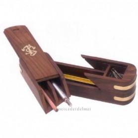 Estuche lápices náutico de madera y latón