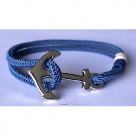 Pulsera náutica azul con ancla