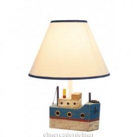 Lámpara de sobremesa con barco de base