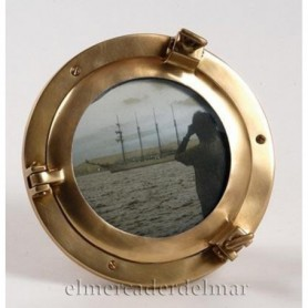 Portafotos ojo de buey náutico en latón envejecido