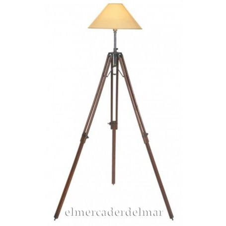 Lámpara náutica trípode extensible de madera y latón