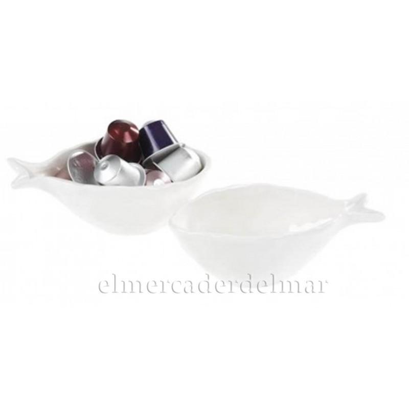 Fuente náutica pez porcelana blanca