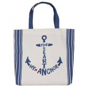"Bolsa de mano canvas ""Your heart, my anchor"" Mercader del mar"