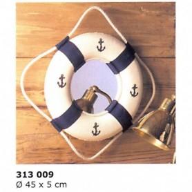 Salvavidas náutico decorativo azul con espejo