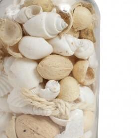 Tarro con caracolas y material marino de color blanco Mercader del mar