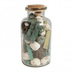 Tarro con caracolas y material marino de color azul Mercader del mar