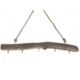 Colgador de madera reflotada marina con 5 ganchos Mercader del mar