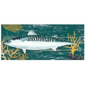 Mural marino de madera pez sobre fondo verde
