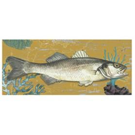 Mural marino de madera pez Scomber amarillo