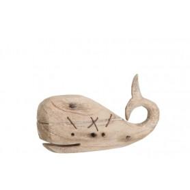 Ballena decorativa marina de madera natural Mercader del mar