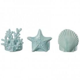 Juego de 3 portavelas marino color azul, concha, estrella y coral