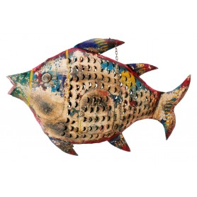 Portavelas marino pez de hierro pintado a mano