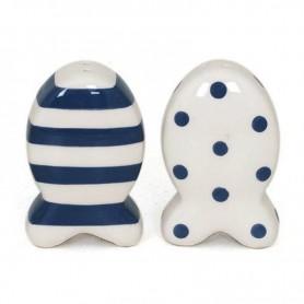 Salero y pimentero de cerámica estilo pez marino El Mercader del mar