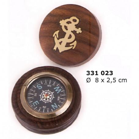 Brújula en madera redonda con tapa