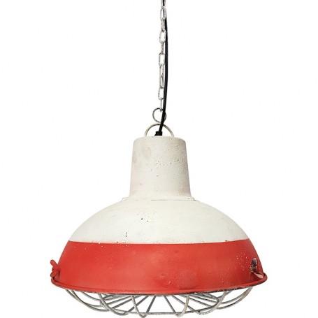 Lámpara de techo marinera de metal rojiblanca en elmercaderdelmar.com para una decoración náutica y marinera