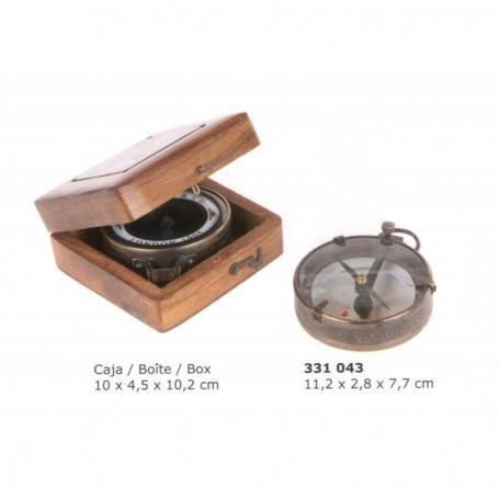 Brújula latón y cristal para mapas con caja madera