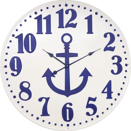 Reloj marinero de pared con ancla azul en el mercader del mar para decoración náutica y marinera