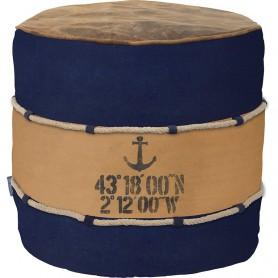 Puf náutico redondo con ancla en elmercaderdelmar.com para decoración náutica y marinera