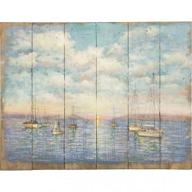 Pintura de paisaje marinero sobre madera en elmercaderdelmar.com para decoración náutica y marinera