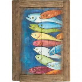 Mural marinero de madera con sardinas en elmercaderdelmar.com para decoración náutica y marinera