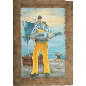 Mural marinero de madera con pescador en elmercaderdelmar.com para decoración náutica y marinera