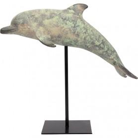 Delfín marino decorativo con base en el mercader del mar para decoración náutica y marinera