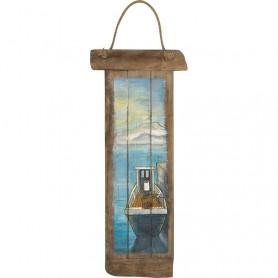 Mural marinero de madera con barco en elmercaderdelmar.com para decoración náutica y marinera