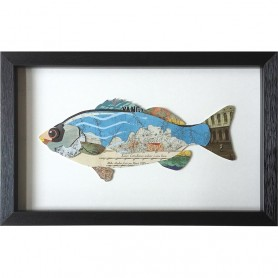 Cuadro marinero pez de colores en el mercader del mar para decoración náutica y marinera