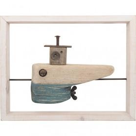 Cuadro de barco y madera reflotada en elmercaderdelmar.com para decoración náutica y marinera