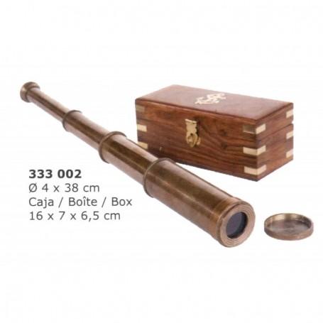 Catalejo náutico de latón envejecido con caja madera