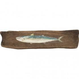 Cuadro marinero de madera reflotada con pez en elmercaderdelmar.com para decoración náutica y marinera
