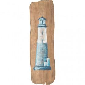 Cuadro marinero de madera reflotada con faro azul en elmercaderdelmar.com para decoración náutica y marinera