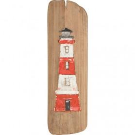 Cuadro marinero de madera reflotada con faro rojo en elmercaderdelmar.com para decoración náutica y marinera