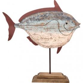 Pez decorativo vintage marinero con peana en elmercaderdelmar.com para decoración náutica y marinera