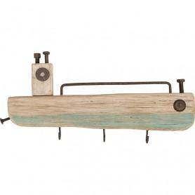 Perchero artesanal decorativo en barco de madera