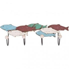 Perchero marino banco de peces en madera