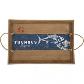 Bandeja marinera ornamental de madera atunes