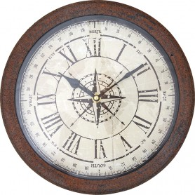 Reloj marinero de pared con rosa de los vientos