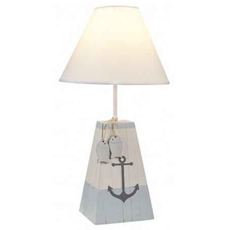 Lámpara con ancla y peces para decoración náutica