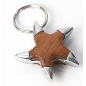 Llavero marino estrella de mar  de metal y madera