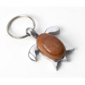 Llavero tortuga de metal y madera