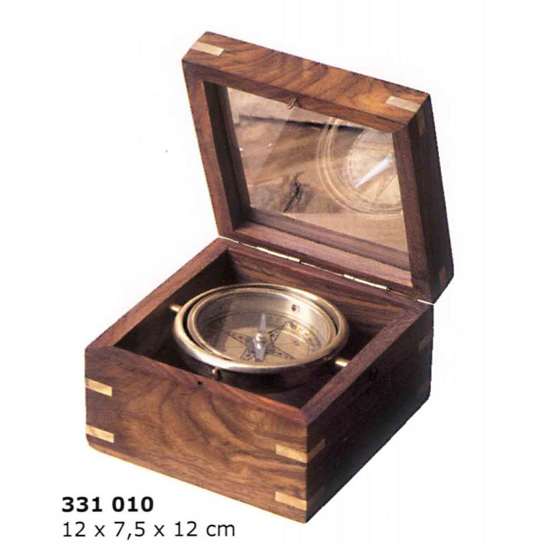 Br jula n utica en caja de madera tapa de cristal for Caja madera con tapa