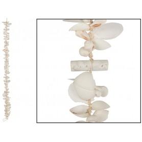 Guirnalda madera reflotada y conchas para decoración marinera