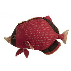 Cojín marinero pescado para decoración náutica.