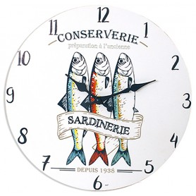 Reloj náutico sardinas para decoración marinera
