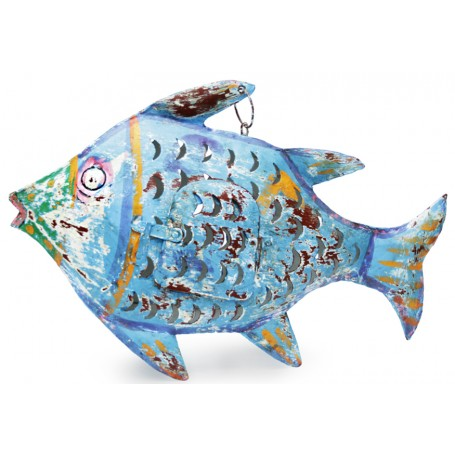 Portavelas náutico pez de hierro