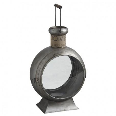 Portavelas marinero vintage en metal y cristal para la decoración náutica