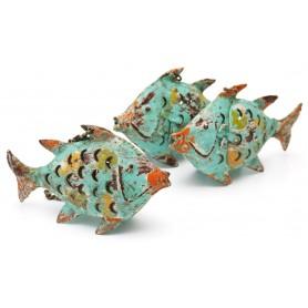 Portavelas pescado de hierro para decoración marinera