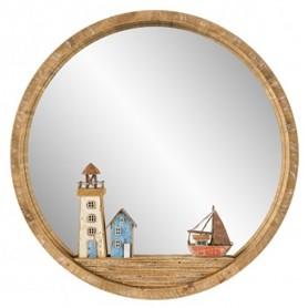 Espejo náutico en madera para decoración marinera