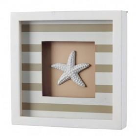 Cuadro decoración marinera a rayas beige con estrella de mar